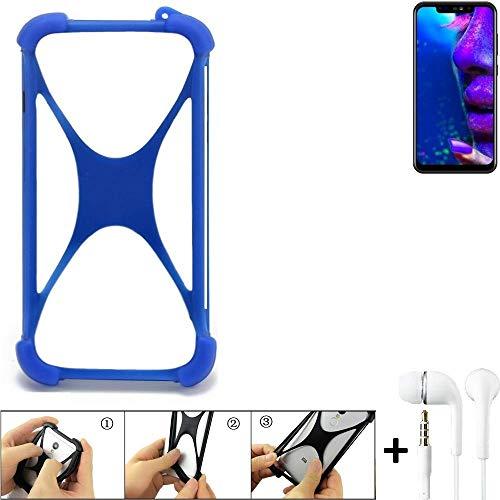 K-S-Trade Handyhülle für Allview Soul X5 Pro Bumper Schutzhülle Silikon Schutz Hülle Cover Case Silikoncase Silikonbumper TPU Softcase Smartphone, Blau (1x), Headphones