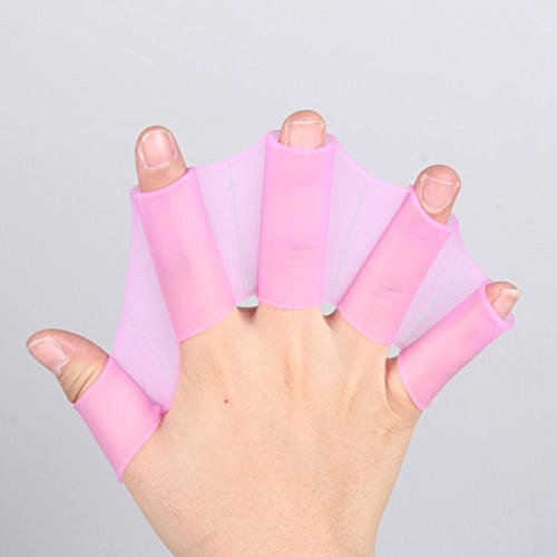 Silikon Schwimmen Paddel, YouGer Finger Schwimmhäute Handschuhe Frosch Getriebe Flossen Training Hand Palm Flippers (Lila, L)