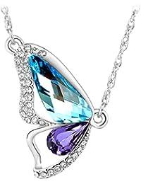 Le Premium® Briser Collier Papillon Cocoon fait avec SWAROVSKI ® ELEMENTS Aquamarine bleu+Violet tanzanite