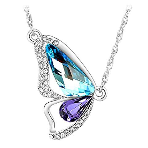 Le Premium® Breaking Cocoon Butterfly Pendant Necklace MADE WITH SWAROVSKI® ELEMENTS Aquamarine+Tanzanite
