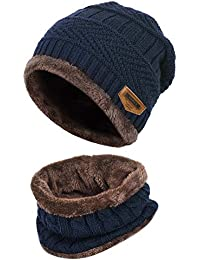 Vbiger Kids Warm Knitted Beanie Hat and Circle Scarf Set d21bb1170b43
