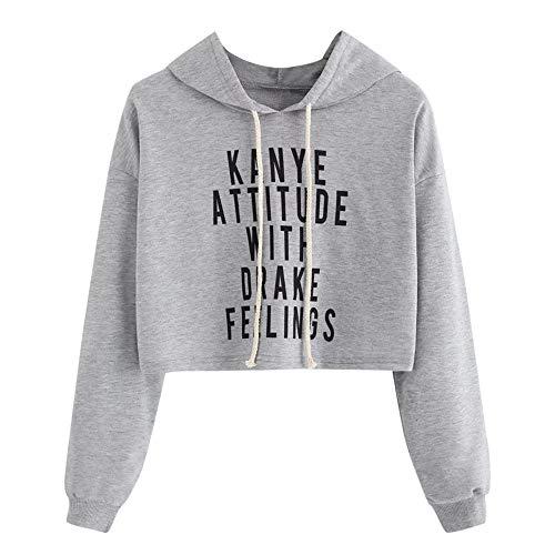 MOTOCO Frauen Hoodies Langarm Brief Pullover Beiläufiges Gestreiftes Sweatshirt Hoodie Jacke Mantel Kurzes Oberteil(M,J-Gray) -