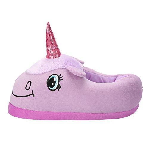 Très chic mailanda pantofole calde adulti cosplay animali di peluche a disegno unicorno ciabatte (taglia unica, viola unicorno)