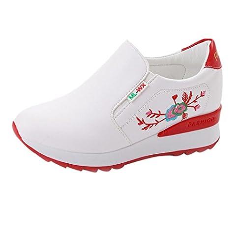 Sneaker Broderies Fleurs Légères Mode Femmes, QinMM Sport Souple Augmentation Respirable Antidérapant Épais Bas Pieds Chaussures (EU 37, Rouge)