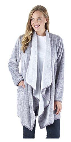 Dormiglioni Fleece drappeggiato Wrap Robe con le tasche, maniche lunghe Cardigan (SH1450-4071-EU-S/M)