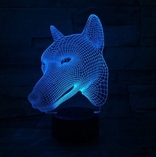 ZJFHL 7 regalos de la novedad de la cabeza del perro del color 7 colores que cambian las luces de la noche llevadas 3D LED lámpara de mesa del escritorio como Decorat casero