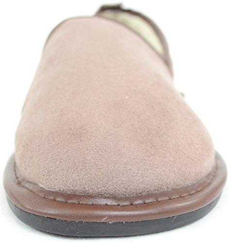 Herrenschuhe/Slipper mit Futter aus dickem Webpelz und Gummisohle Dunkelbeige