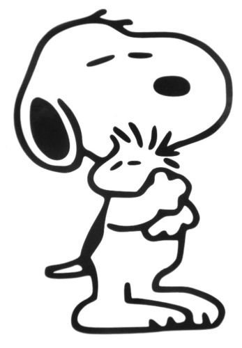 SUPERSTICKI® Snoopy Hugging Woodstock The Peanuts Aufkleber Decal Hintergrund/Maße in Inch Vinyl Sticker|Cars Trucks Vans Walls Laptop|BLACK |5.5 in|CCI378