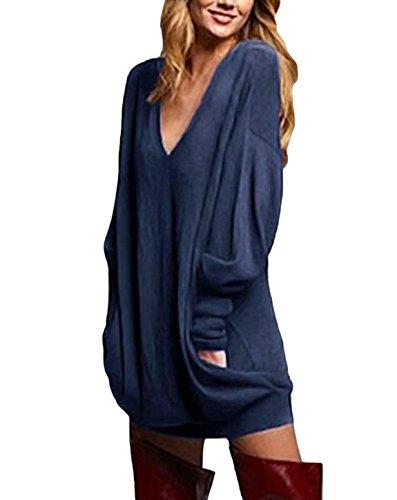 Zanzea donna pullover maglia scollo a v manica lunga camicetta sweater autunno inverno partito blu* it 46-48/tag xl