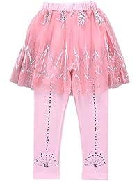 dPois Niñas Leggins Mallas Deporte Danza Ballet Leotardo Gimnasia Leggings con Falda Lentejuelas para Niñas Chicas 3-10 años