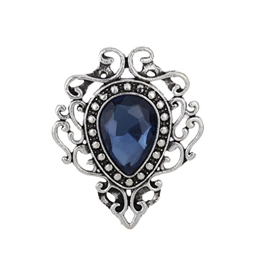 Yazilind Brosche Juwel Retro Blau Zirkonia Wassertröpfchen Pins