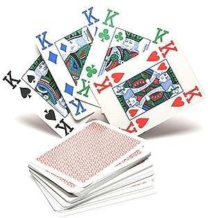 Copag 4couleur 100% plastique Cartes à jouer Poker Taille Index JUMBO arrière (Rouge)