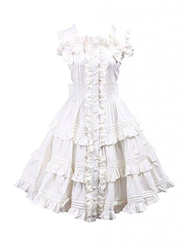 Cemavin Weißes Lolita Kleid mit Trägern und (Kleid Go Kostüme Go)