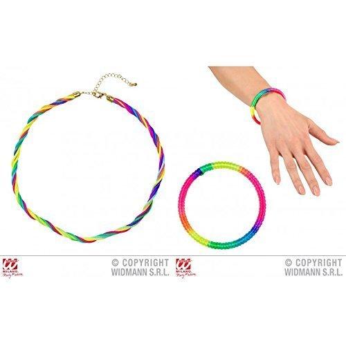 Preisvergleich Produktbild bunte Halskette / Kette mit passendem Armreif Regenbogen