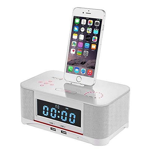 QQA Bluetooth-Lautsprecher mit UKW-Radiowecker mit Bluetooth-Lautsprechern für iPhone 5/6/7/8. (Radio Uhr Dockingstation Iphone 6)