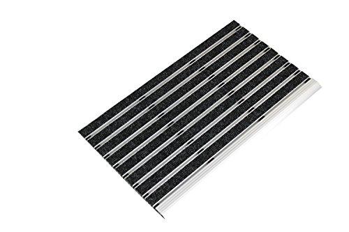 Kettelservice-Metzker Alu Fußmatte Anthrazit 35x60cm mit Nadelfilz Einsatz - Anlaufkante einseitig