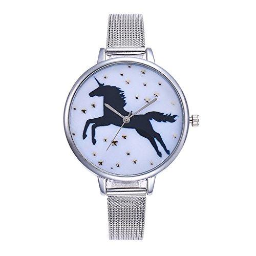 Souarts Damen Armbanduhr Einfach Mesh Metallarmband Flamingo Ananas Einhorn Regenbogen Casual Analoge Quarz Uhr Silber Farbe Einhorn Mädchen Uhr (Siber 3)