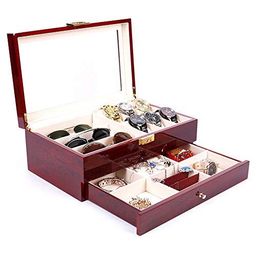 HYJMJJ Gebackene Farbe Double Jewellery Box, 6 Slots Watch Storage, Organizer Mit Schmuck Schublade Für Lagerung Und Display