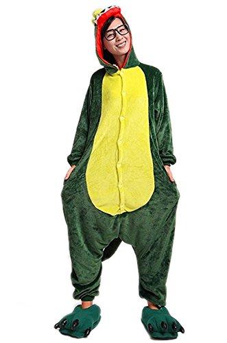 Minetom Flanell Karikatur Tier Pyjama Kostüm Für Halloween Karneval Fasching Unisex Erwachsene Schlafanzug Jumpsuit Anime Cosplay Dinosaurier Grün S(150-160CM)