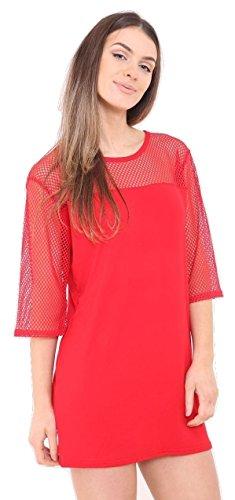 Damen Mesh Net 3/4 Ärmel Baggy OVersized T-Shirt Kleid 36-42 Rot