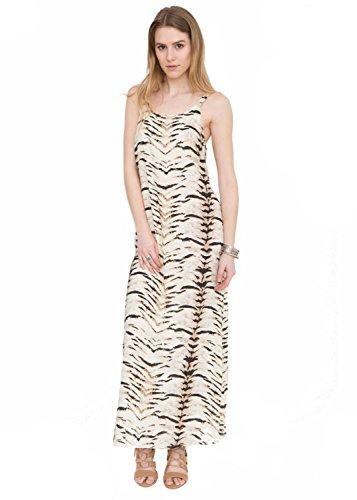 likemary Damen Column Kleid, Animalprint Beige Tiger Print L -