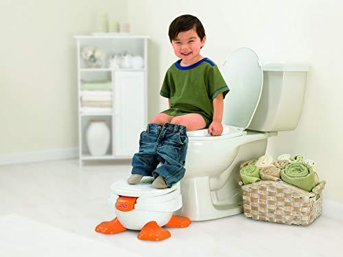 Fisher-Price T6211 - Ducky Töpfchen und Fußbank, mitwachsender Toilettentrainer mit Toilettensitz für Kleinkinder