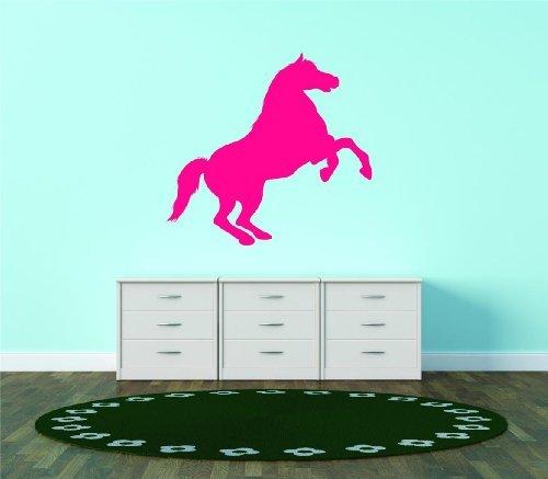 Pink Silhouette galoppierendes Pferd Hengst Reitsport Tier Vinyl Wand Aufkleber Vinyl schälen und Stick Wandtattoo Aufkleber Bild Art Graphic Design Image Decor 15x 15