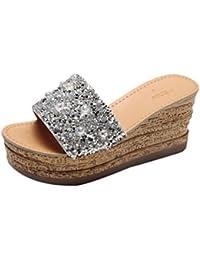 MEIbax Clearance Sale Glitter Plattform Gladiator Freizeitschuhe Frauen Slip auf Hausschuhe Flip Flops Sandale...