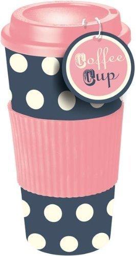 41ui5PbWmlL - Rosa & Blau Gepunktete Thermo Isolierte Tee Kaffee Tasse Reisebecher Mit Deckel