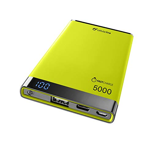 cellularline Caricabatterie Portatile Freepower Manta S 5000 mAh, con Porta USB e USB-C, Powerbank Ultraleggero, Veloce, Potente, Finiture Soft Touch, Display LED, Verde