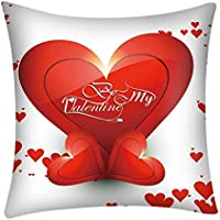 Cushion Cover Square 45cm x 45cm/18x18 Inches - Throw Pillow Cases Happy Valentine's Day Heart Love Sofa Waist Chair Decorative Home Office Bar Car Decor Pillowcase Red And White Protectors (H)