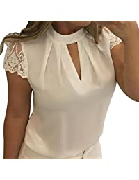 Bluse Damen Elegant LHWY Frauen Casual Chiffon Kurzarm Splice Spitze Crop  Top Bluse Business Oberteile Zurück 7271c2e155