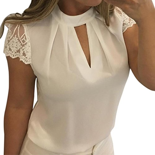 Bluse Damen Elegant LHWY Frauen Casual Chiffon Kurzarm Splice Spitze Crop Top Bluse Business Oberteile Zurück Reißverschluss Sommerkleid Weiß (2XL, Weiß)