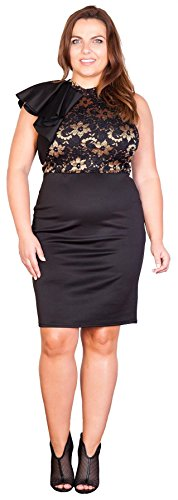 Chocolate Pickle® Nouveau Femmes Grande Taille Frill Epaule Dentelle Robe 44-54 gold