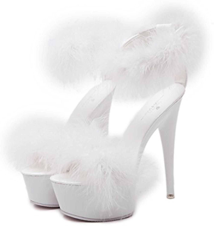 XiaoGao 15 cm de tacon alto cabello decoracion sandalias,Blanco -