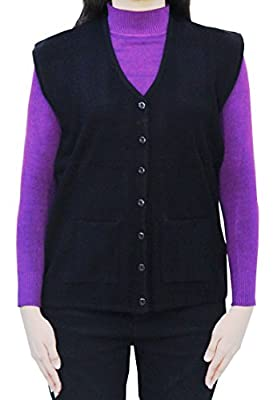 Romano Women's Sleeveless Winter 100% Wool Solid Sweater Cardigan