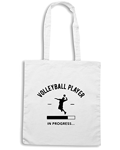 T-Shirtshock - Borsa Shopping SP0144 Volleyball Player Loading Maglietta Bianco