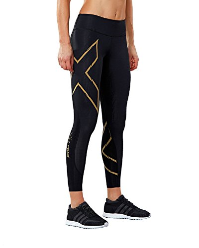 2XU Damen MCS Run Kompressionsstrümpfe, Damen, schwarz/Gold, Medium