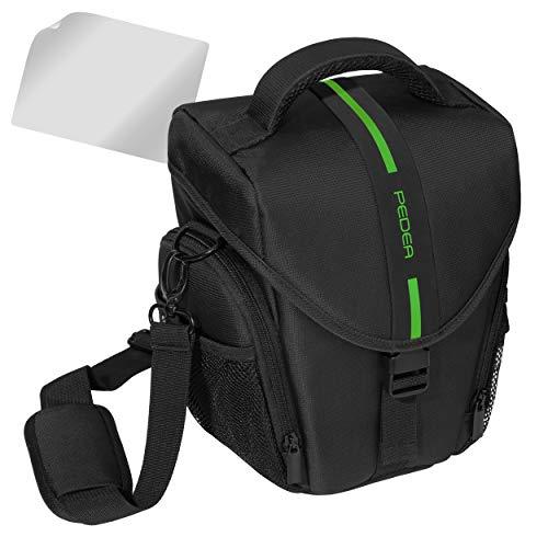 Pedea Borsa per fotocamere Nikon D5100 e D3100 con spazio per corpo e obiettivo tracolla e 3 scomparti per accessori pellicola protettiva per display