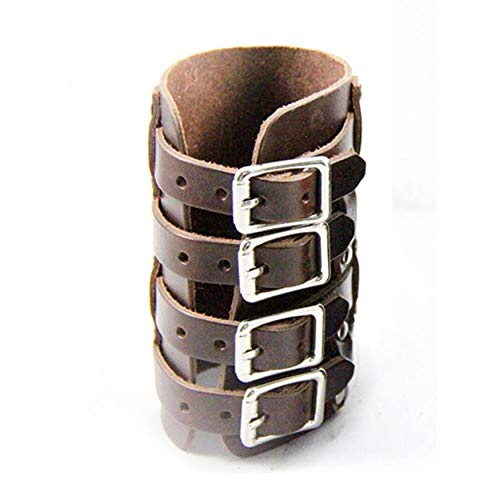 4d573a0c30e11 Yao Personalized Leather Wrist Bracer Steampunk Punk Style Four Buckles  Wristband Coffee Color