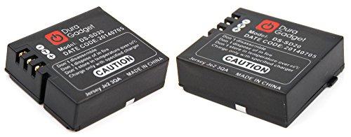 DEUX batteries de rechange DURAGADGET pour PNJ AEE MAGICAM SD18, SD19, SD21 / SD21G, SD23 (Naked) & 23G, et SD100 caméra de sport/action - D30 / DS-SD20 Li-ion 1000mAH 3.7V rechargeable - Garantie 2 ans