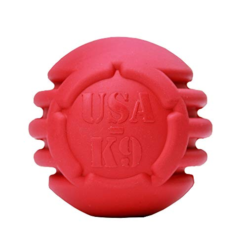 USA-K9: Stars and Tripes Leckerli-Spender Ball Great CEW Dog Toy Made with Natural Rubber Crazy Bouncer USA Made -