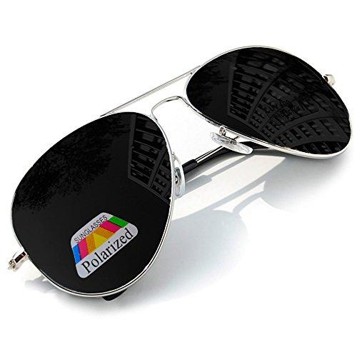 Polarisiert Aviator Sonnenbrille für Jungen, Mädchen, Kinder, Metall, Pilotenbrille, silberfarbene...