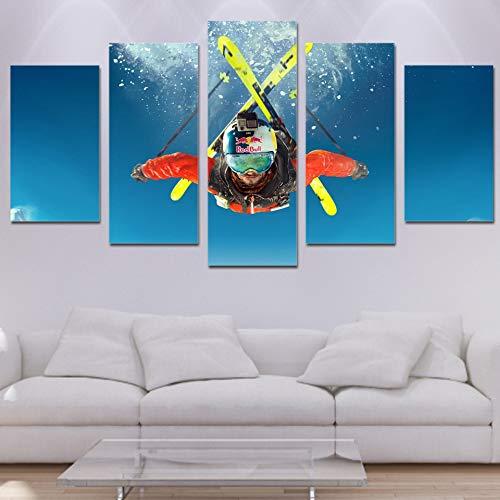 SYJL Wohnzimmer Gedruckt Moderne Dekoration Poster 5 Panel Freestyle Ski Modulare Bild Wandkunst Home Malerei Auf Leinwand, 20x35 20x45 20x55 cm-Rahmen (Freestyle-ski-poster)