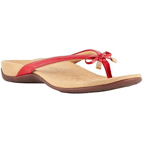 VIONIC Womens Rest 44 Bella II Red Patent Synthetic Sandals 38 EU Red Patent Bow