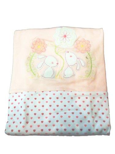 Superweicher Luxuriöser Baby Decke für Kinderwagen/Kinderbett,–Pink Bunny & Blumen/Herzen–100% Baumwolle–für Baby Mädchen