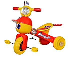 Goyal'S Mr. Rambo Baby Tricycle Ride-On Bicycle - Foldable Rider With Music & Lights (Red)