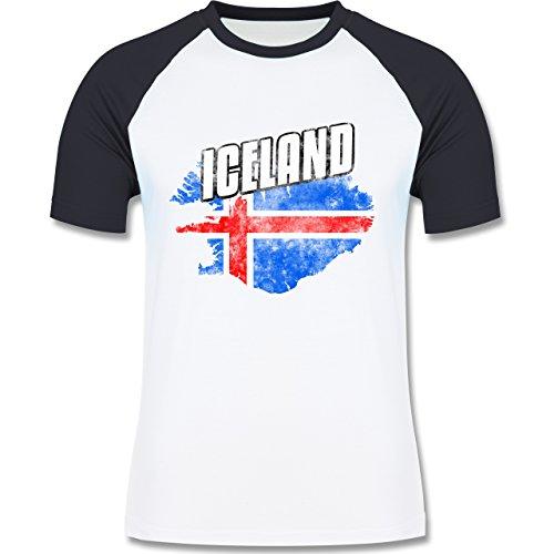 Shirtracer Fußball-WM 2018 - Russland - Iceland Umriss Vintage - Herren Baseball Shirt Weiß/Navy Blau