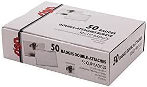 Sign Diffusion Boîte de 50 badges 57 x 91 mm pince + épingle et bristol