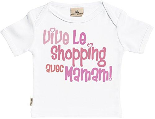 aeb5113c6fe91 SR - Vive Le Shopping avec Maman! T-Shirt Bébé Fille - T-Shirt Bébé Garçon  - Haut Bébé - Coton Bio - Coffrets Cadeaux pour Bébé - dans Boîte Cadeau -  18-24 ...